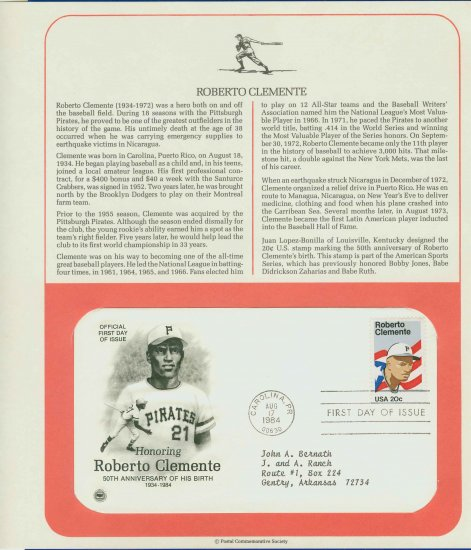 1984 USA FDC Sc# 2097 � Aug 17 � Honoring Roberto Clemente on Cachet Addressed Cover E4859P