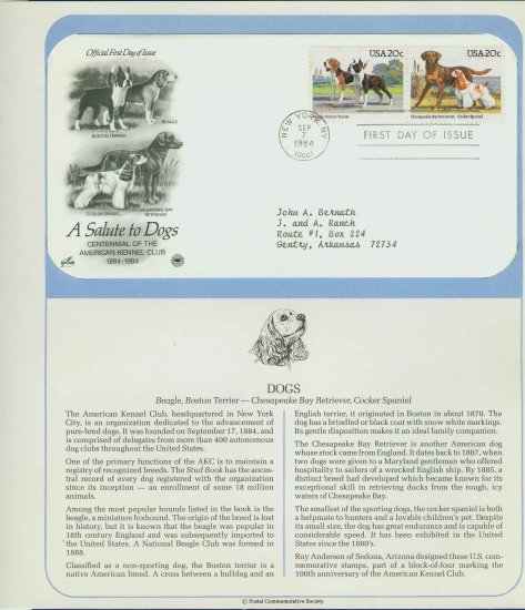 1984 USA FDC Scott# 2098-99 � Sep 7 � A Salute to Dogs on Cachet Addressed Cover E4859P