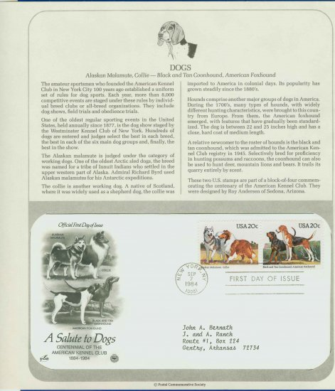 1984 USA FDC Scott# 2100-1 � Sep 7 � A Salute to Dogs on Cachet Addressed Cover E4859P