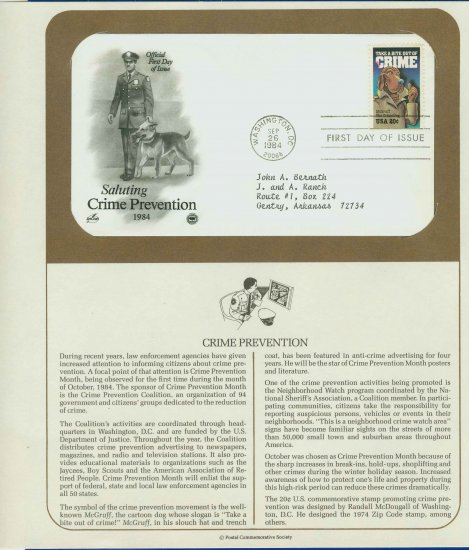 1984 USA FDC Scott# 2102 � Sep 26 � Saluting Crime Prevention on Cachet Addressed Cover E4859P