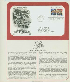 1984 USA FDC Scott# 2103 � Oct 31 � Hispanic Americans on Cachet Addressed Cover E4859P
