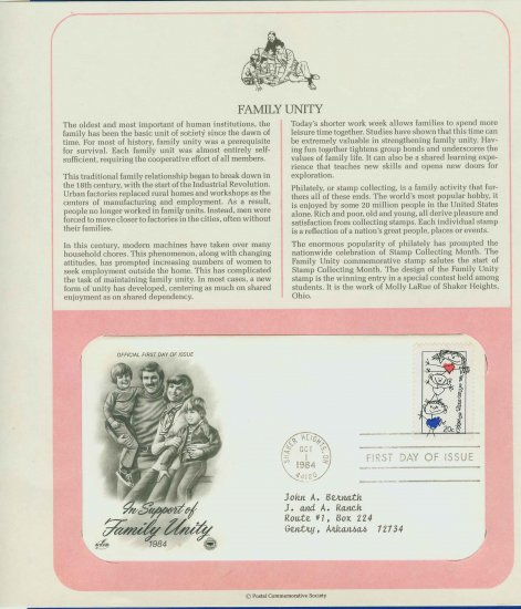 1984 USA FDC Scott# 2104 � Oct 1 � In Support of Family Unity on Cachet Addressed Cover E4859P