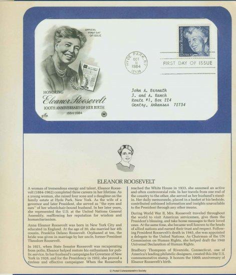 1984 USA FDC Scott# 2105 � Oct 11 � Honoring Eleanor Roosevelt on Cachet Addressed Cover E4859P