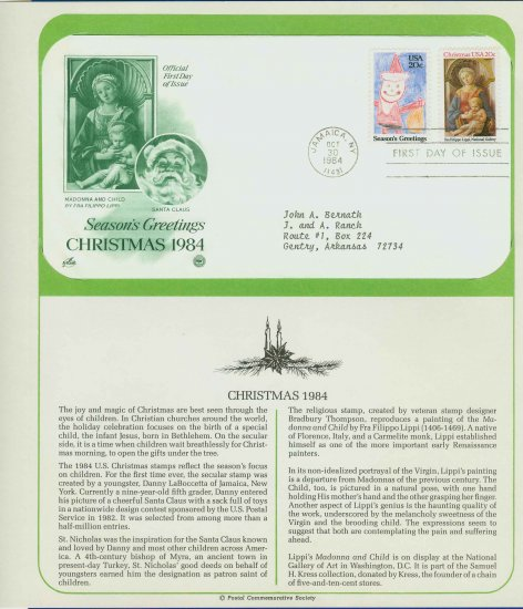 1984 USA FDC Scott# 2107-8 � Oct 30 � 1984 Christmas 2 Stamps on Cachet Addressed Cover E4859P