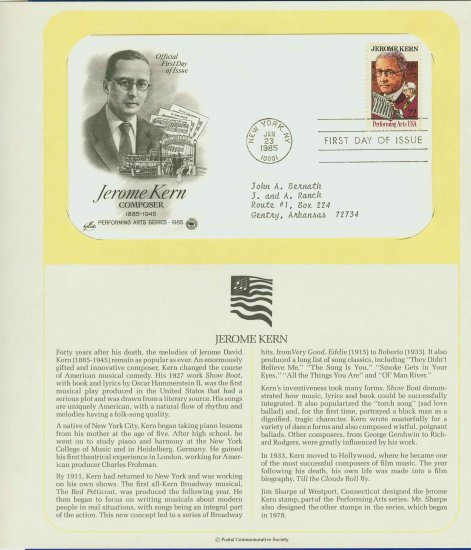 1985 USA FDC Scott# 2110 � Jan 23 � Composer Jerome Kern on Cachet Addressed Cover E4859P
