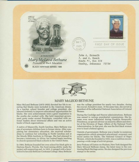 1985 USA FDC Sc# 2137 � Mar 5 � A Tribute to Mary Bethune on Cachet Addressed Cover E4859P