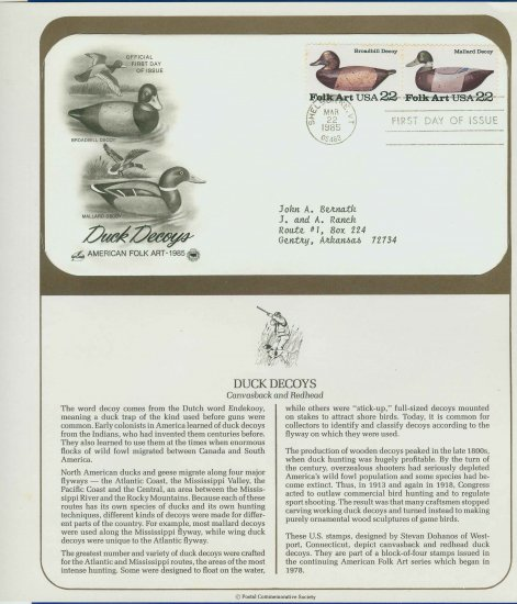 1985 USA FDC Scott# 2133-39 � Mar 22 � Duck Decoys 2 Stamps on Cachet Addressed Cover E4859P