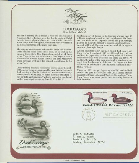 1985 USA FDC Scott# 2140-41 � Mar 22 � Duck Decoys 2 Stamps on Cachet Addressed Cover E4859P