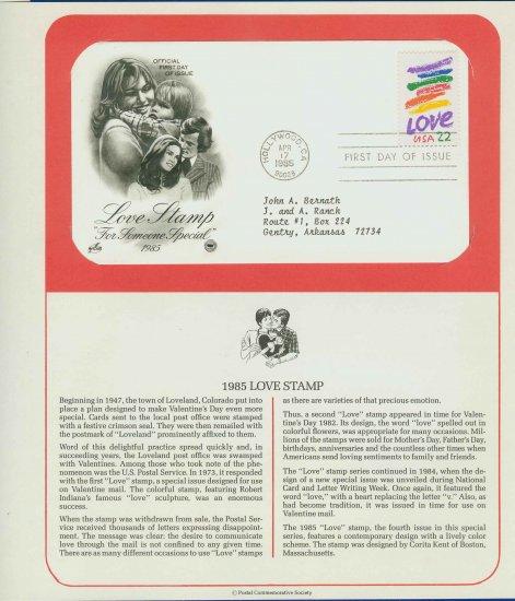 1985 USA FDC Scott# 2143 � Apr 17 � Love Stamp on Cachet Addressed Cover E4859P