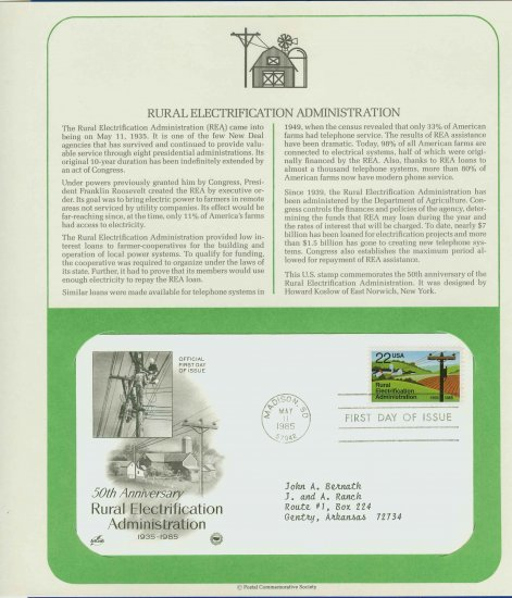 1985 USA FDC Scott# 2144 � May 11 � Rural Electrification on Cachet Addressed Cover E4859P