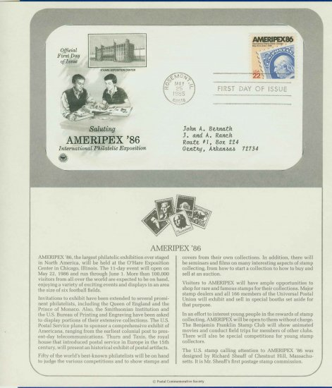 1985 USA FDC Scott# 2145 � May 25 � Saluting AMERIPEX 86 on Cachet Addressed Cover E4859P