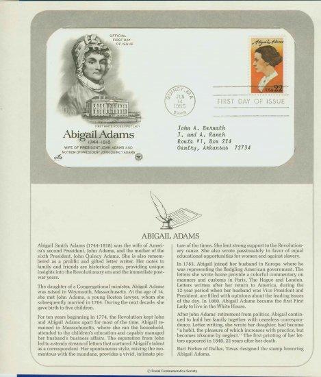 1985 USA FDC Scott# 2146 � Jun 14 � Honoring Abigail Adams on Cachet Addressed Cover E4859P