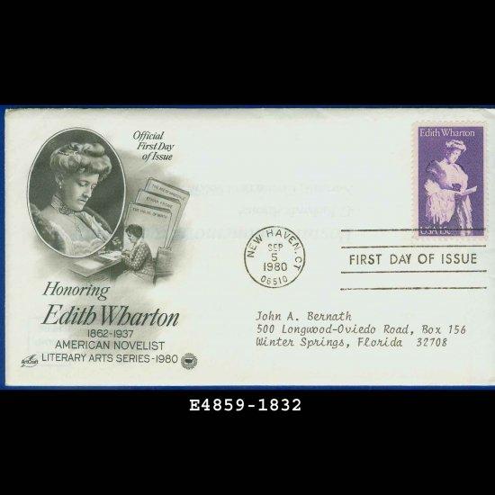 USA FDC Scott# 1832 � Sep 5, 1980 � Honoring Edith Wharton on Cachet Addressed Cover E4859