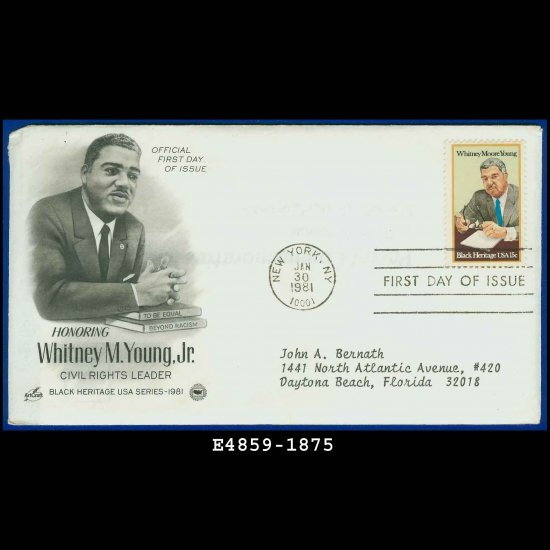 USA FDC Sc# 1875 � Jan 31, 1981 � Honoring Whitney M Young Jr on Cachet Addressed Cover E4859