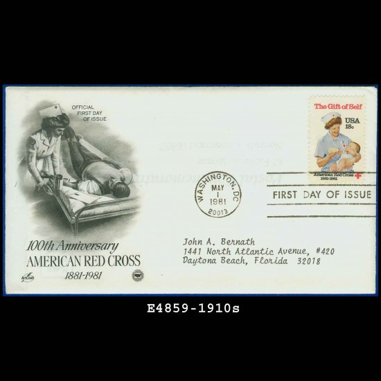 USA FDC Scott# 1910 � May 1, 1981 � American Red Cross on Cachet Addressed Cover E4859