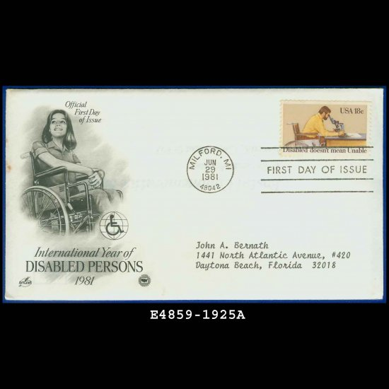 USA FDC Scott# 1925 � Jun 29, 1981 � Disabled Persons on Cachet Addressed Cover E4859
