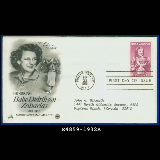 USA FDC Scott# 1932 � Sep 22, 1981 � Babe Didrikson Zabarias on Cachet Addressed Cover E4859