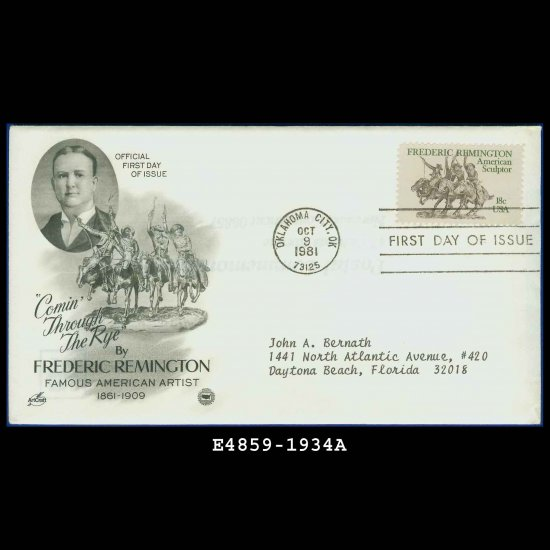 USA FDC Scott# 1934 � Oct 9, 1981 � Artist Frederic Remington on Cachet Addressed Cover E4859
