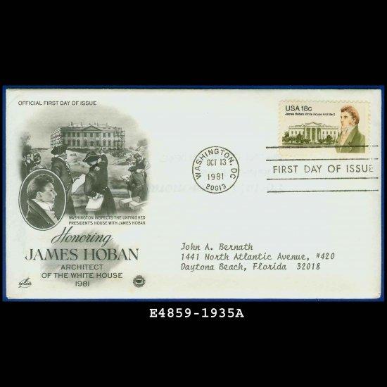USA FDC Scott# 1935 � Oct 13, 1981 � Honoring James Hoban on Cachet Addressed Cover E4859
