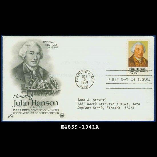 USA FDC Scott# 1941 � Nov 5, 1981 � Honoring John Hanson on Cachet Addressed Cover E4859