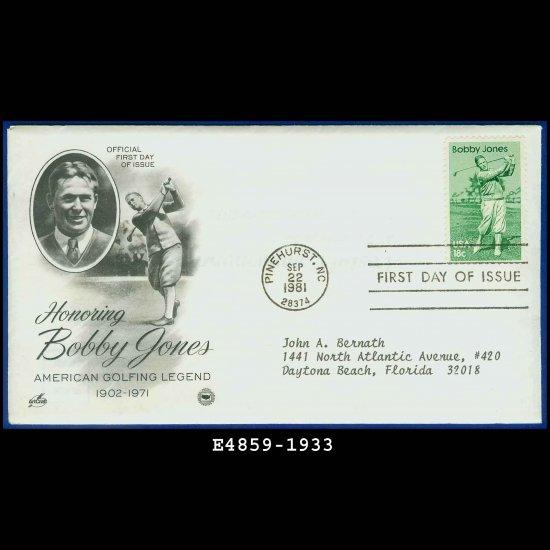 USA FDC Scott# 1933 � Sep 22, 1981 � Honoring Bobby Jones on Cachet Addressed Cover E4859