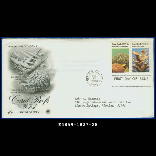 USA FDC Scott# 1827-28 � Aug 26, 1980 � Coral Reefs USA on Cachet Addressed Cover E4859