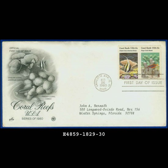 USA FDC Scott# 1829-30 � Aug 26, 1980 � Coral Reefs USA on Cachet Addressed Cover E4859