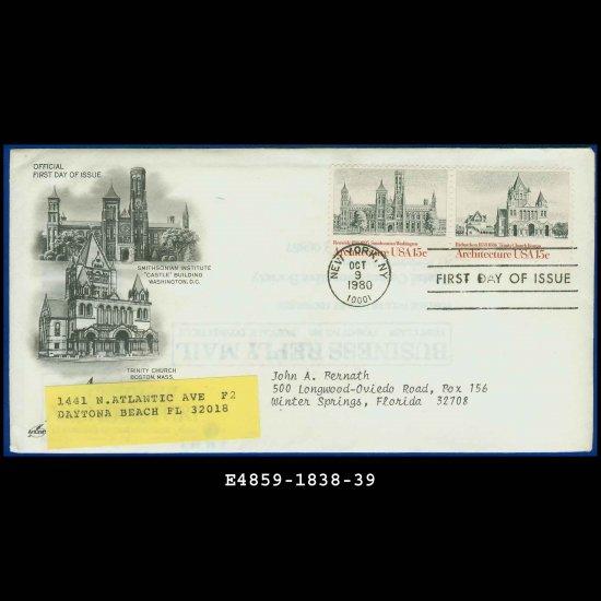 USA FDC Scott# 1838-39 � Oct 9, 1980 � American Architecture on Cachet Addressed Cover E4859