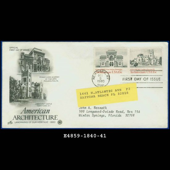 USA FDC Scott# 1840-41 � Oct 9, 1980 � American Architecture on Cachet Addressed Cover E4859