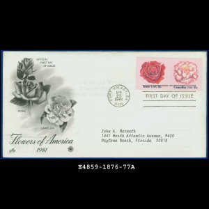USA FDC Scott# 1876-77 � Apr 23, 1981 � Flowers of America on Cachet Addressed Cover E4859