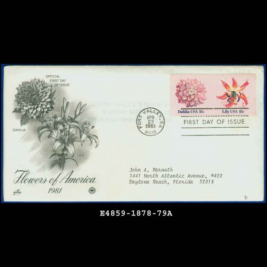 USA FDC Scott# 1878-79 � Apr 23, 1981 � Flowers of America on Cachet Addressed Cover E4859