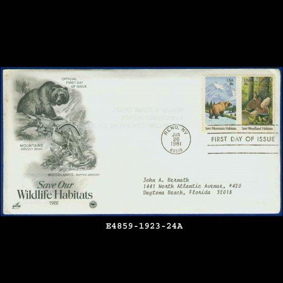 USA FDC Sc# 1923-24 � Jun 26, 1981 � Save Our Wildlife Habitats on Cachet Addressed Cover E4859