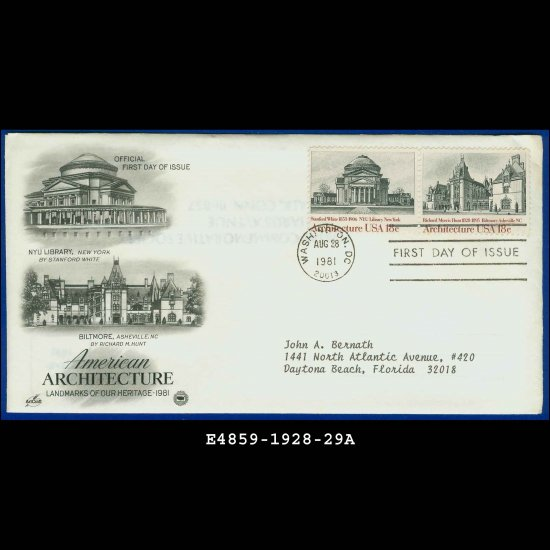 USA FDC Scott# 1928-29 � Aug 28, 1981 � American Architecture on Cachet Addressed Cover E4859