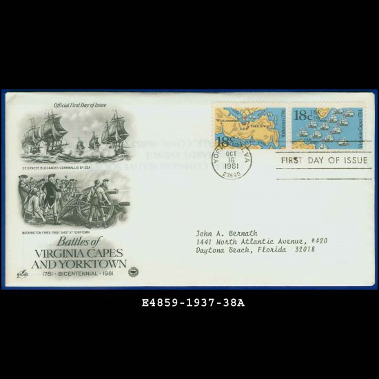 USA FDC Sc# 1937-38 -Oct 16, 1981�Battles Virginia Capes & Yorktown Cachet Addressed Cover E4859