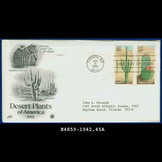 USA FDC Sc# 1942,45 � Dec 11, 1981 � Desert Plants of America on Cachet Addressed Cover E4859