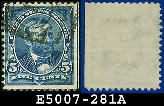 1898 USA USED Scott# 281 � 5c Blue Grant - 1898 Regular Issue