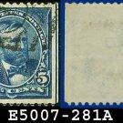 1898 USA USED Scott# 281 – 5c Blue Grant - 1898 Regular Issue