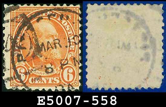 1922-25 USA USED Scott# 558 � 6c Red Orange Garfield � 1922-25 Regular Issue