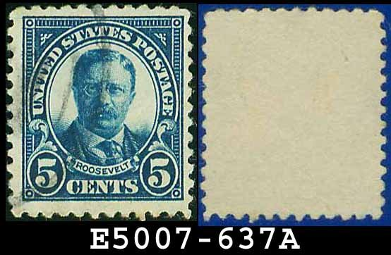 1926-28 USA USED Scott# 637 - 5c T Roosevelt - 1926-28 Regular Issue