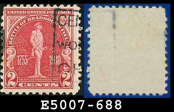 1930-31 USA USED Scott# 688 � 2c Washington � Battle of Bradddock Field