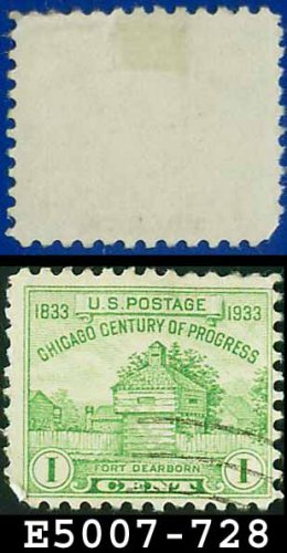 1933 USA USED Scott# 728 � 1c Fort Dearborn � 1933 Commemoratives