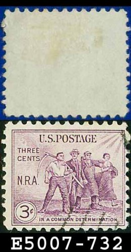 1933 USA USED Scott# 732 � 3c Group of Workers � 1932 National Recovery Act