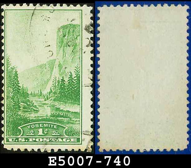 1934 USA USED Scott# 740 � 1c Yosemite California � 1934 National Parks Issue