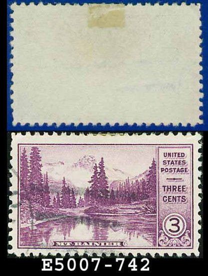 1934 USA USED Scott# 742 � 3c Mt. Rainier � 1934 National Parks Issue