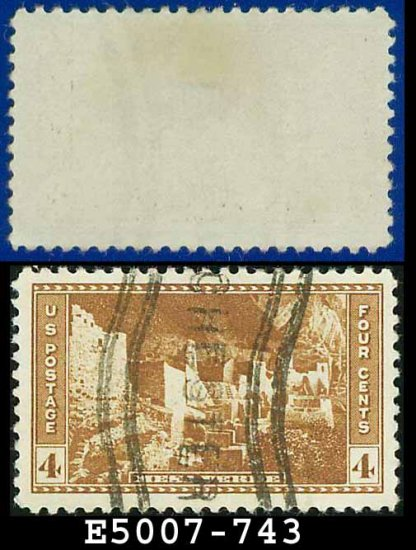 1934 USA USED Scott# 743 � 4c Mesa Verde � 1934 National Parks Issue