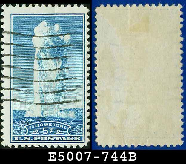 1934 USA USED Scott# 744 � 5c Yellowstone � 1934 National Parks Issue