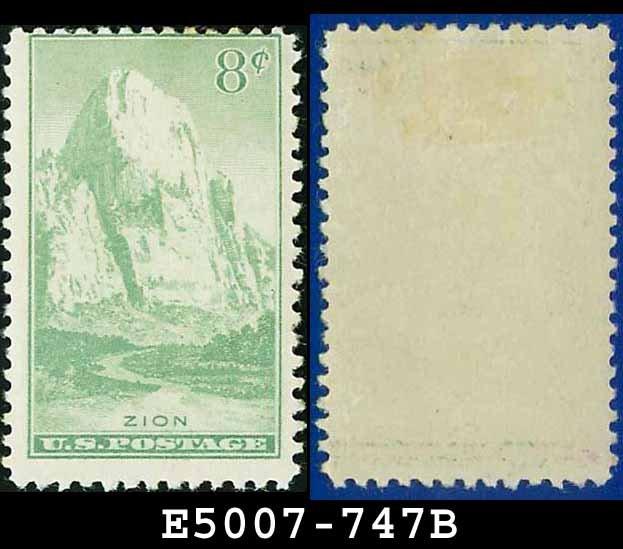 1934 USA UNUSED Scott# 747 � 8c Zion, Utah � 1934 National Parks Issue