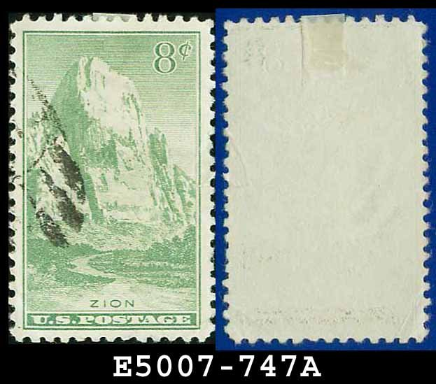 1934 USA USED Scott# 747 � 8c Zion, Utah � 1934 National Parks Issue