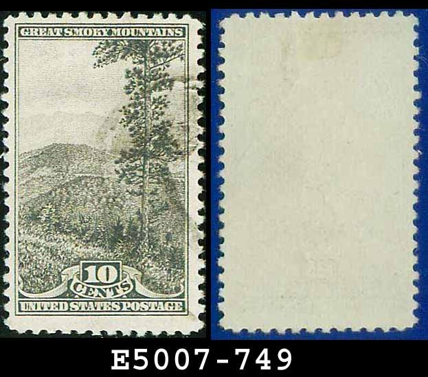 1934 USA USED Scott# 749 � 10c Great Smoky Mountains � 1934 National Parks Issue