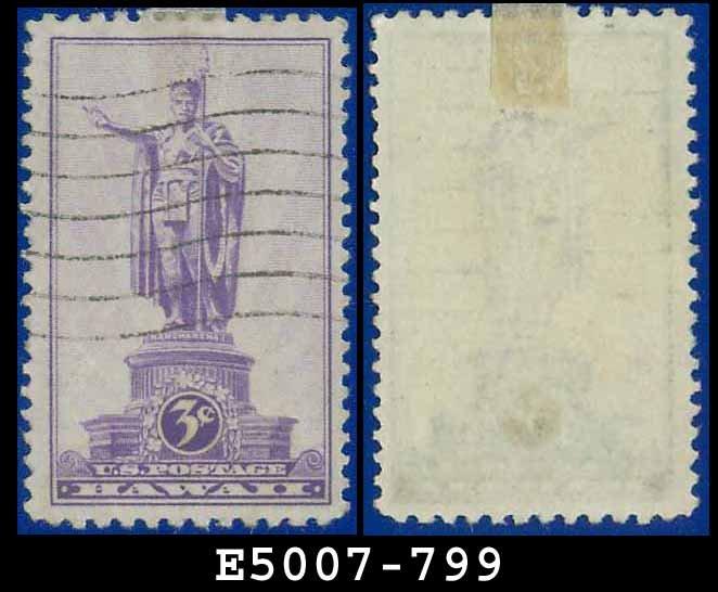 1937 USA USED Sc# 799 � 3c Statue of Kamehameha I Hawaii � 1937 Commemoratives
